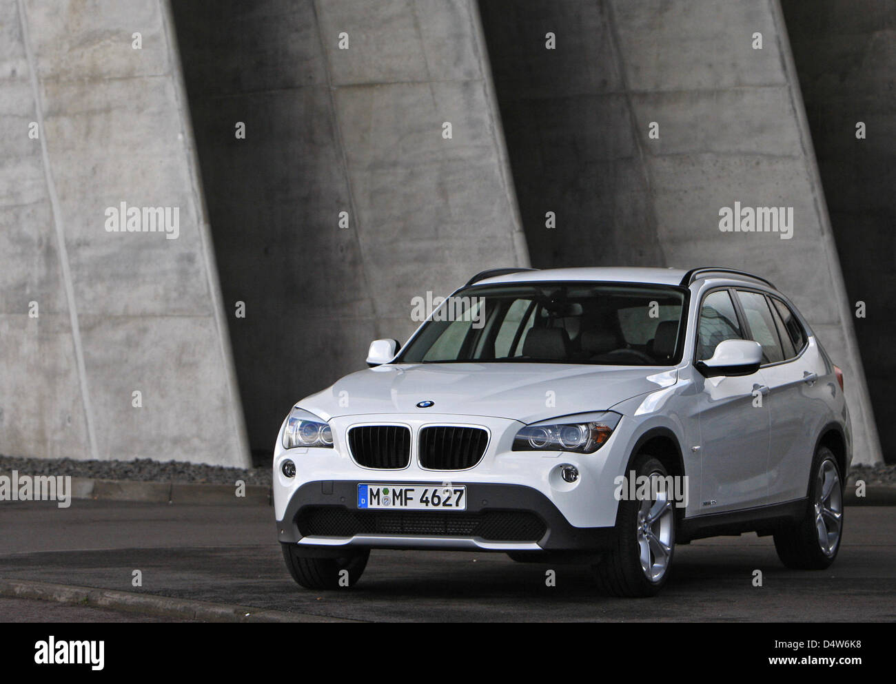 A BMW X1 stands in front of the BMW factory in Leipzig