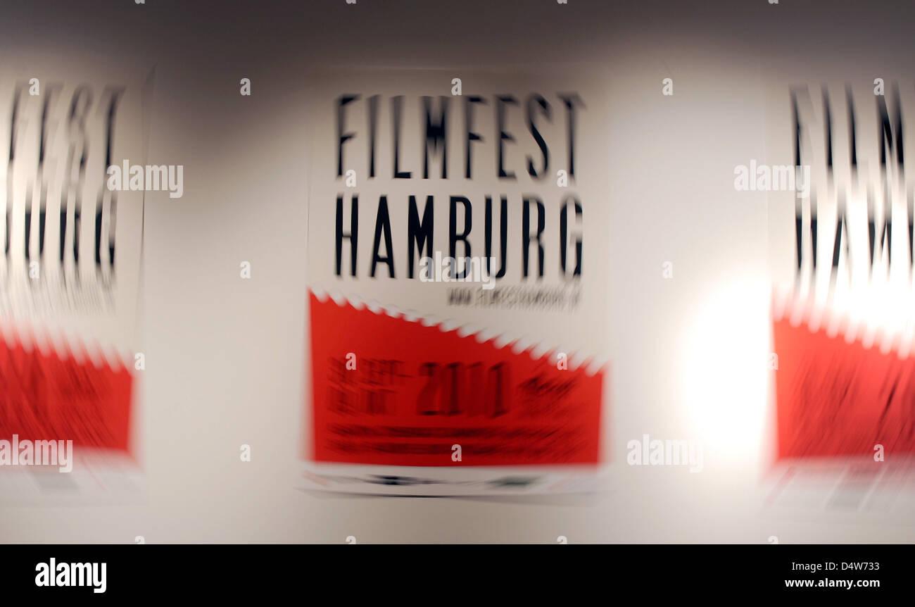 'Filmfest Hamburg' is written on posters of the 18th Hamburg Film Festival in Hamburg, Germany, 14 September - Stock Image