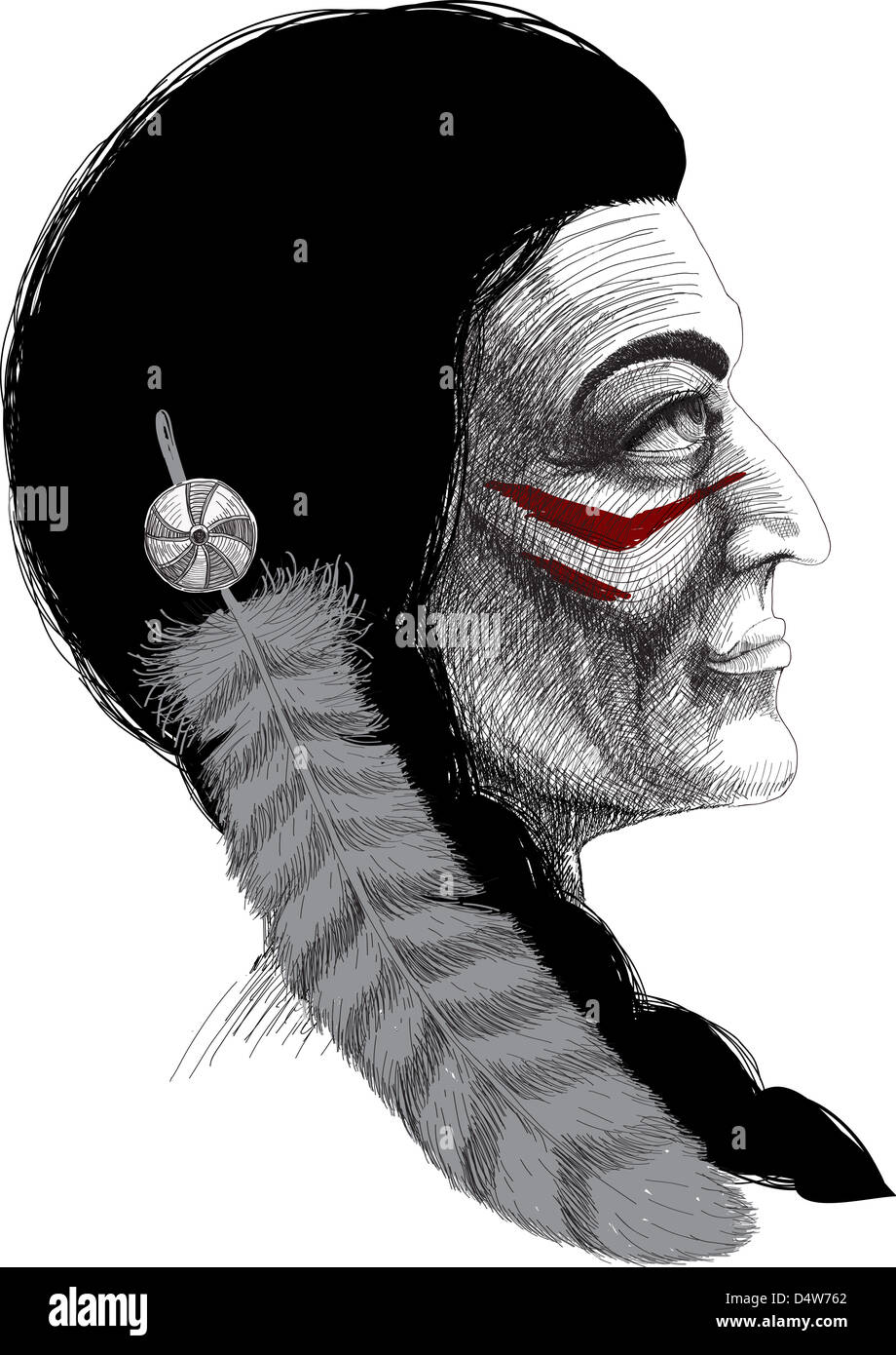 illustrations north men culture tribal people - Stock Image