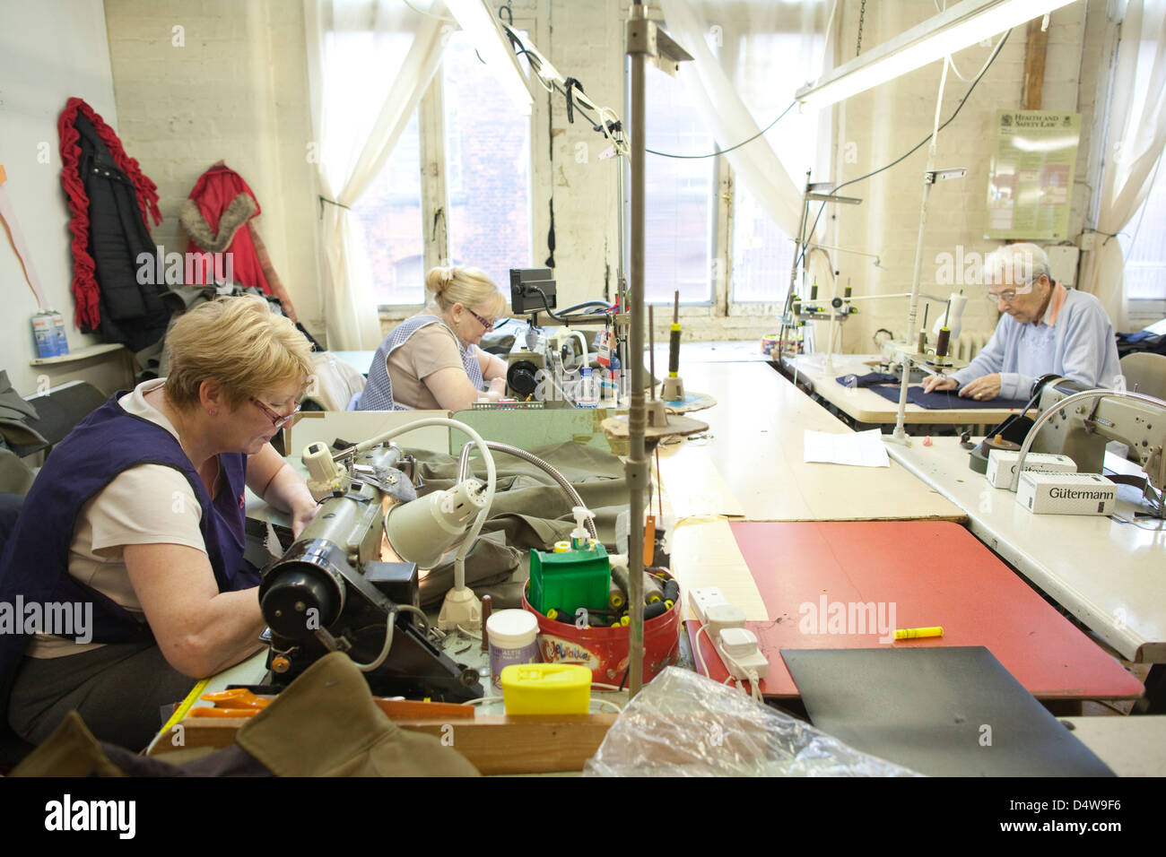 Factory floor at British clothes manufacturer Private White V.C. in Salford, Manchester, England, UK - Stock Image