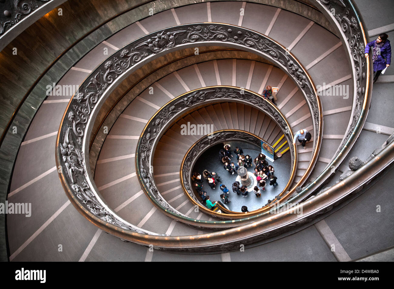 Spiral staircase exit to the Vatican Museums, Rome, Italy - Stock Image