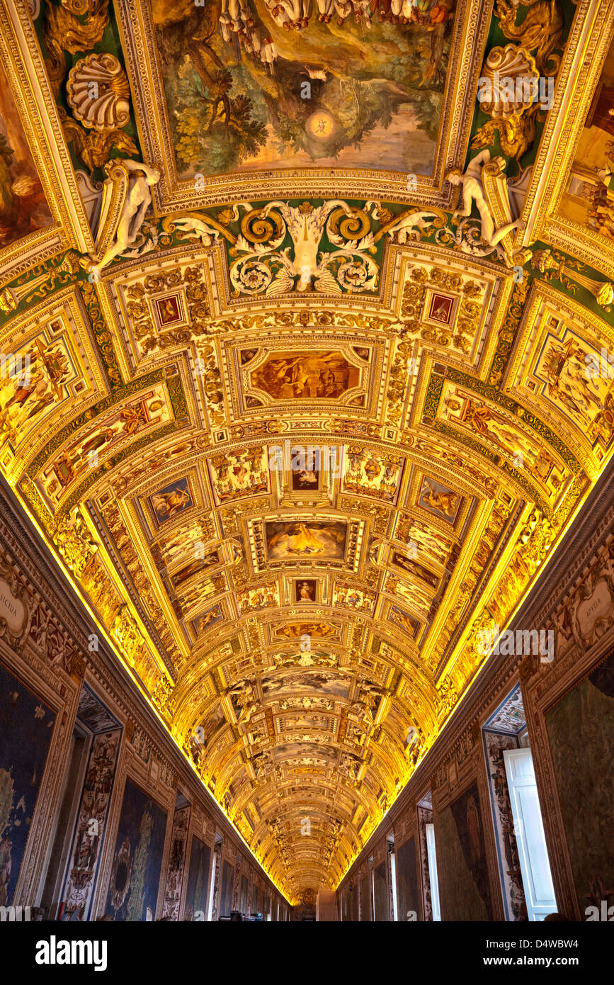 Ceiling of the Gallery of Maps in Vatican Museums, Rome, Italy - Stock Image