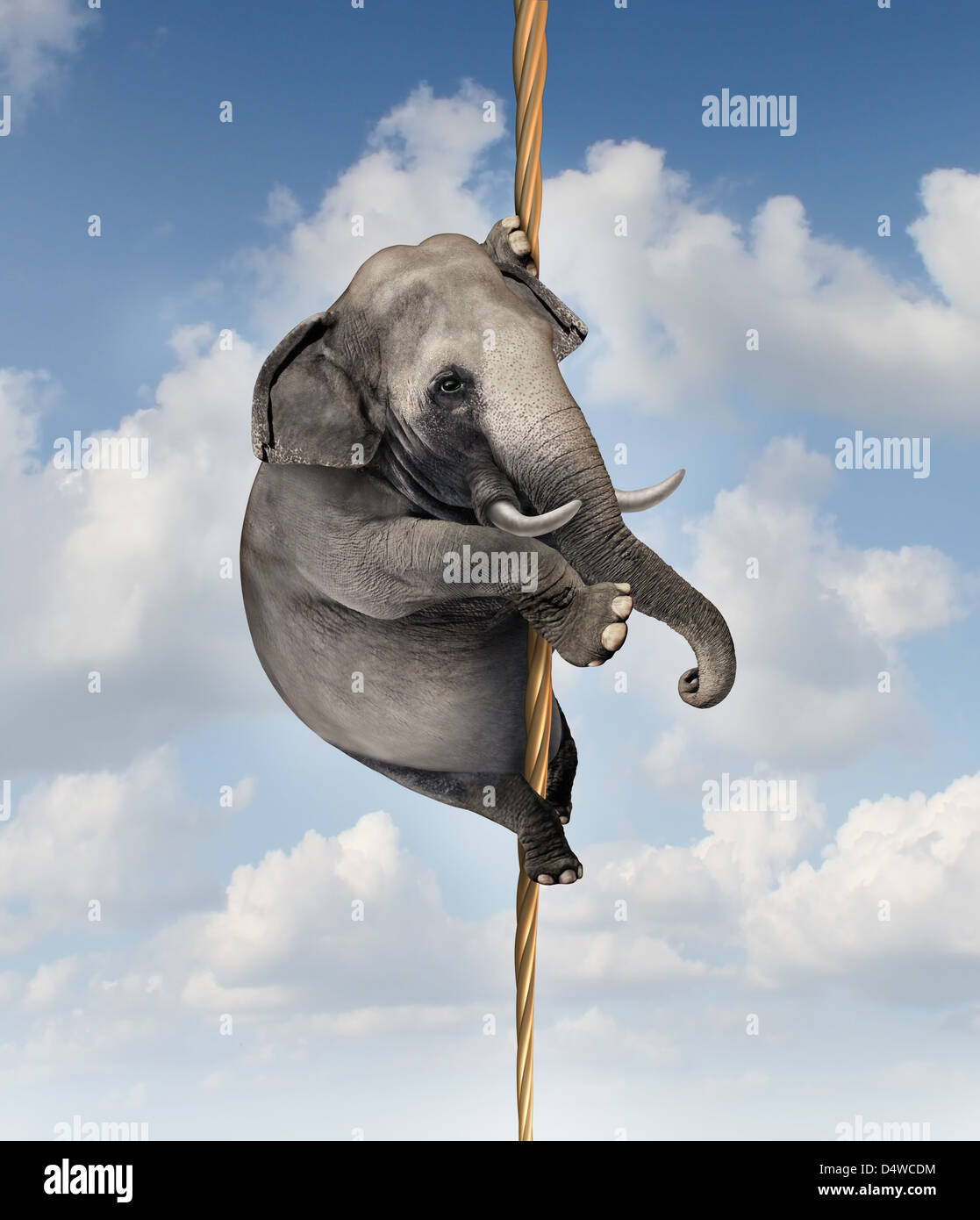 Strong determination managing risk and uncertainty with a large elephant climbing a rope high in the sky as a symbol - Stock Image