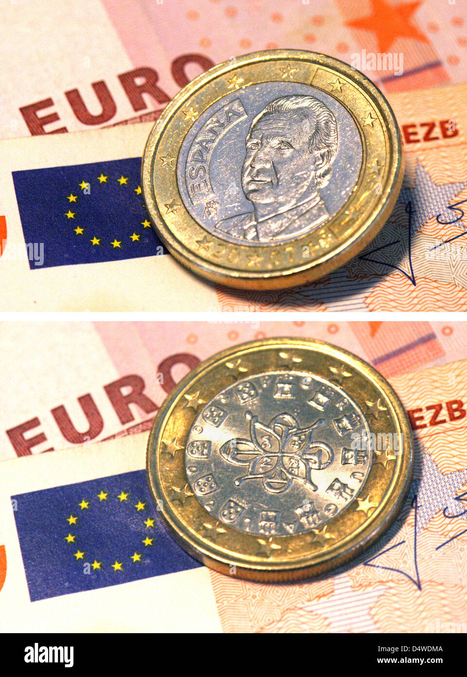 (FILE) - A file picture-combo dated 09 March 2010 shows a Spanish (above) and a Portuguese one-euro-coin lying - Stock Image