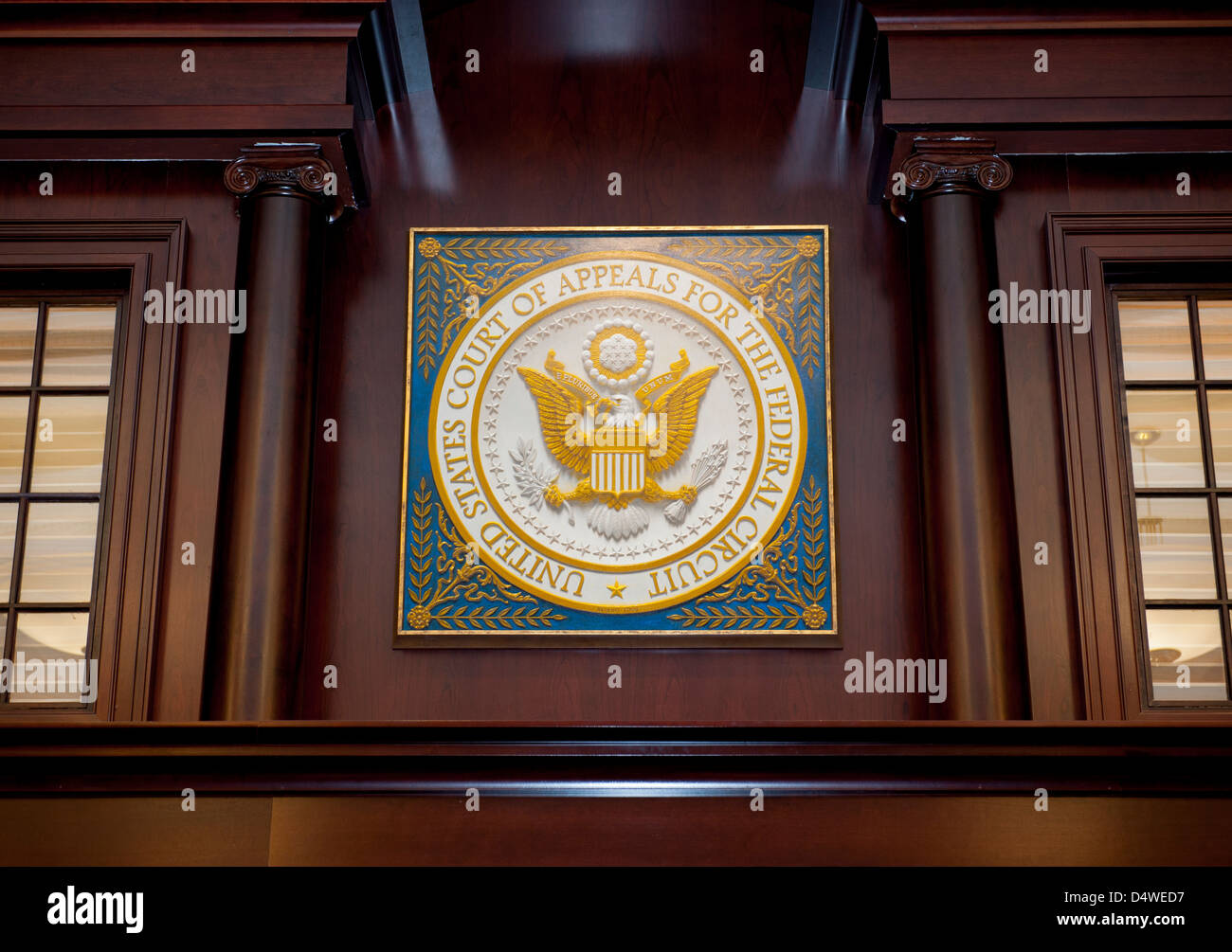 Seal of the United States Federal Court of Appeals inside a courtroom in Washington DC - Stock Image