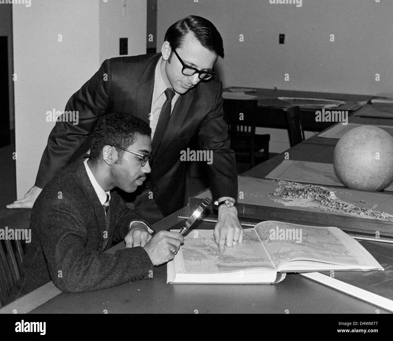 Photograph of Ralph Ehrenberg and Fred Pernell of the Cartographic Branch, 1972 - Stock Image
