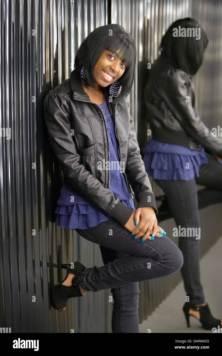 A Black Teenage Girl With Short Hair Stock Photo 54654661 Alamy