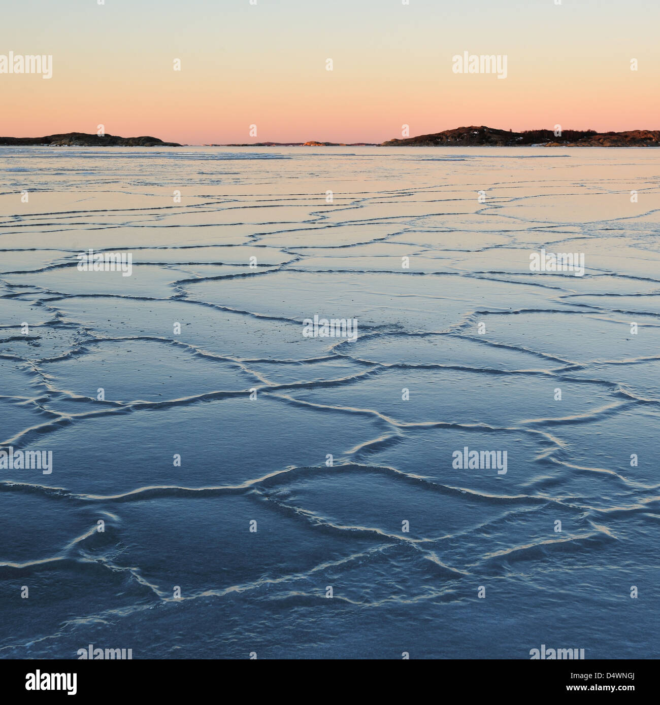 Frozen sea at Smithska Udden, Gotenburg, Sweden, Europe - Stock Image