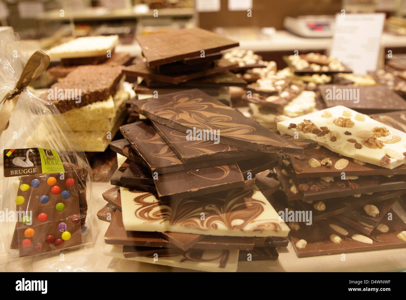 ASSORTED CHOCOLATE PIECES FOR SALE IN A BELGIAN CHOCOLATE STORE, brugge, belgium - Stock Image