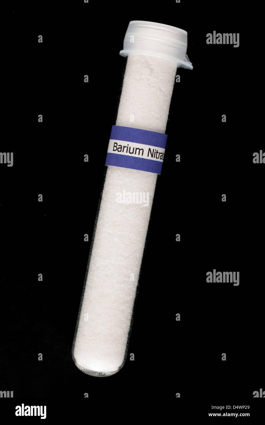 Test tube full of toxic crystals of Barium Nitrate  Ba(NO3)2 - Stock Image