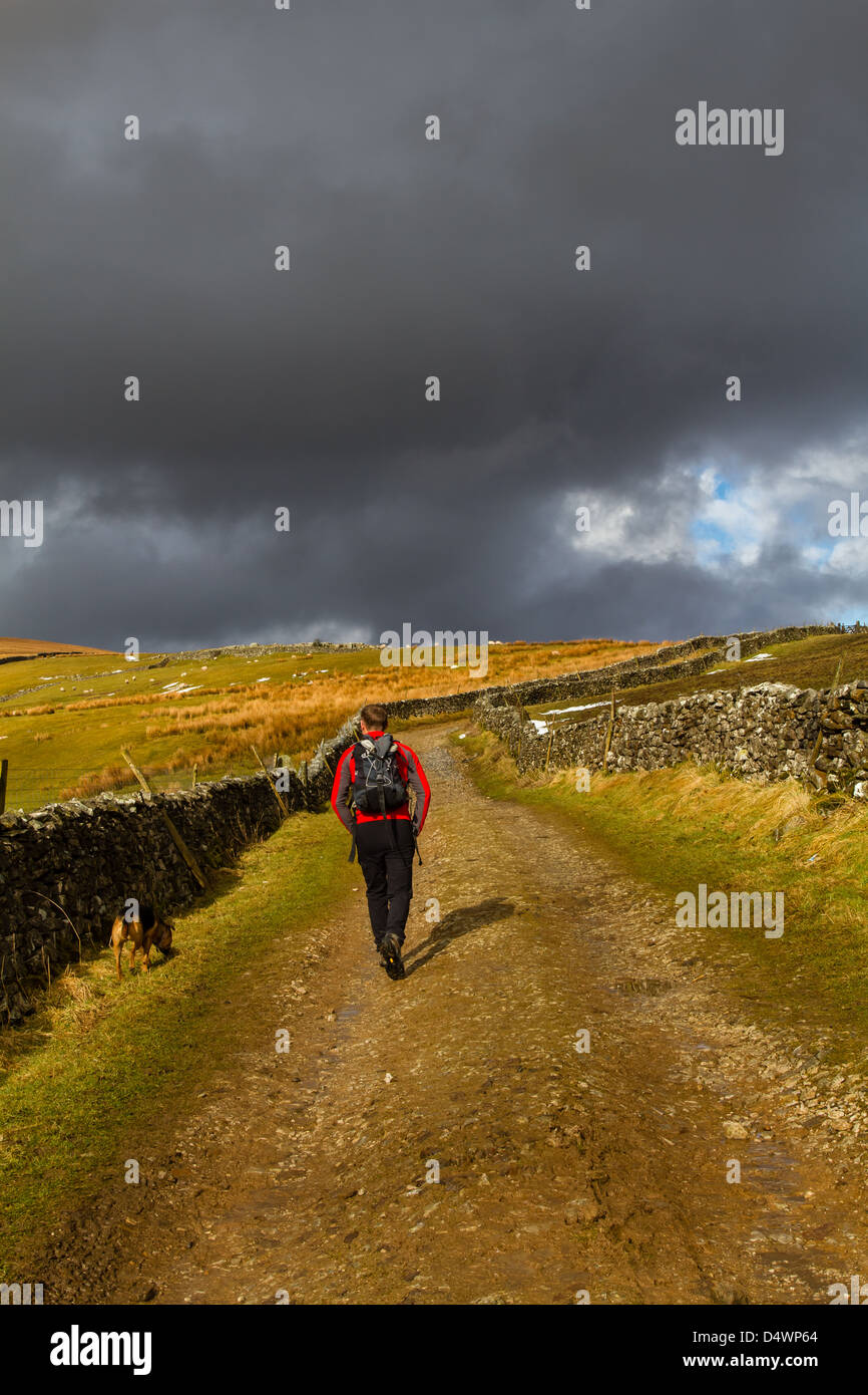 Heading up towards Pen-y-Ghent, one of the Yorkshire 3 Peaks, UK - Stock Image