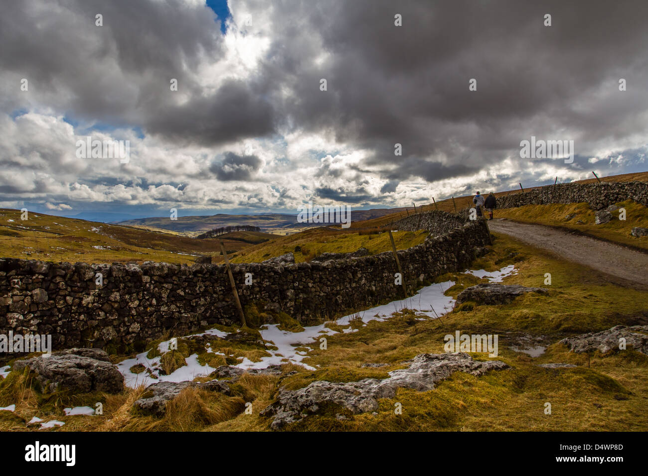 Heading down Pen-y-Ghent, one of the Yorkshire 3 Peaks, UK - Stock Image