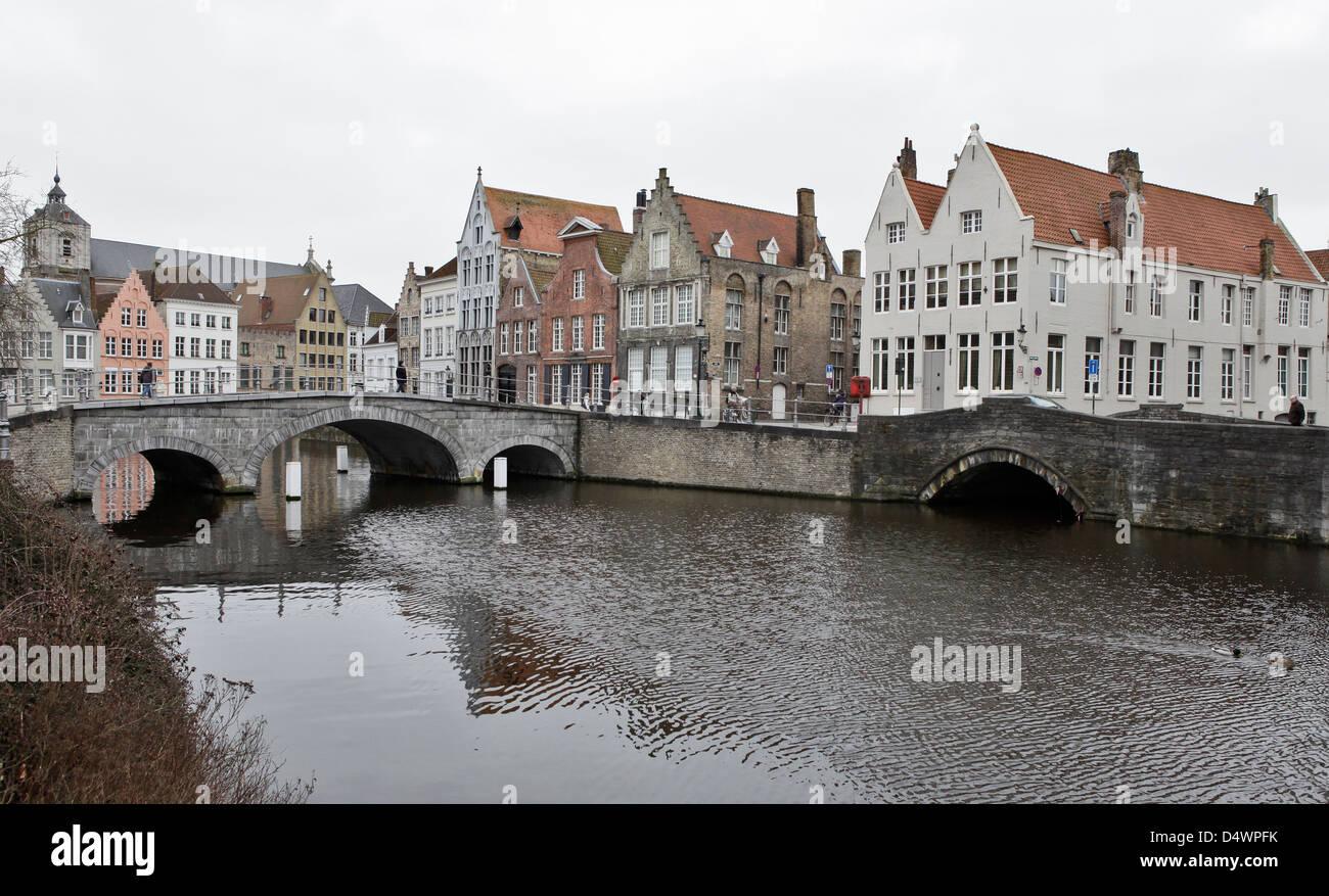 canal and bridges, brugge, belgium - Stock Image