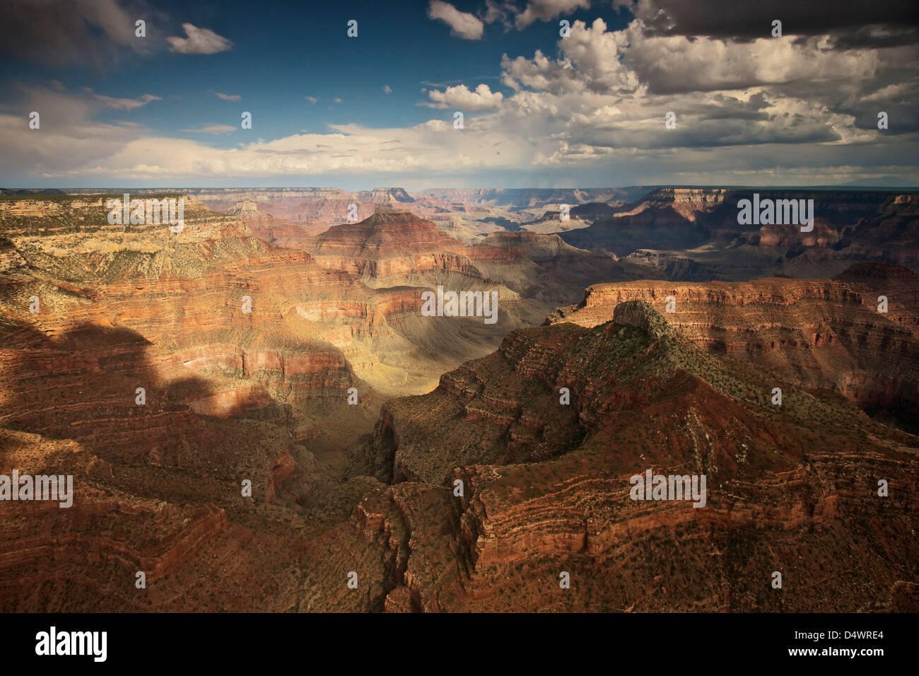 Aerial view of Grand Canyon, Arizona, USA. Taken from helicopter flying from the North Rim to the South Rim looking - Stock Image