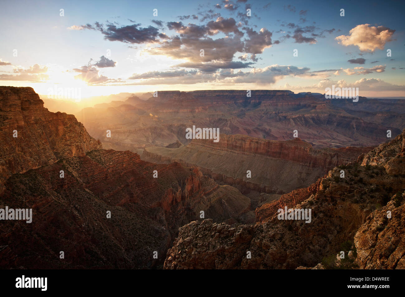 Roadside overlook of Grand Canyon, west of Lipan Point, Arizona, USA. - Stock Image