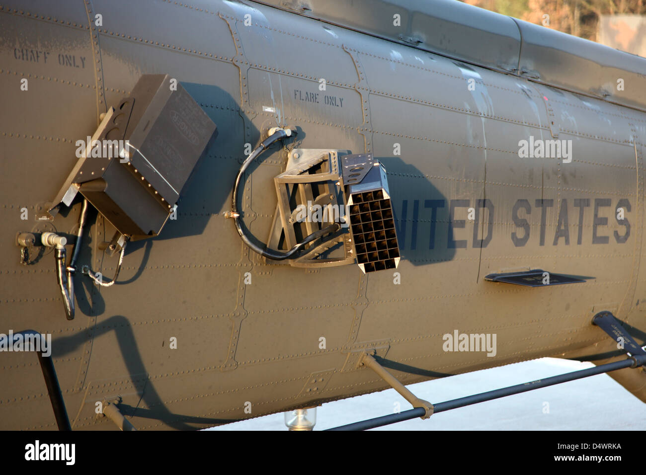 Chaff and flare dispensers on a U.S. Army UH-60L Blackhawk. - Stock Image