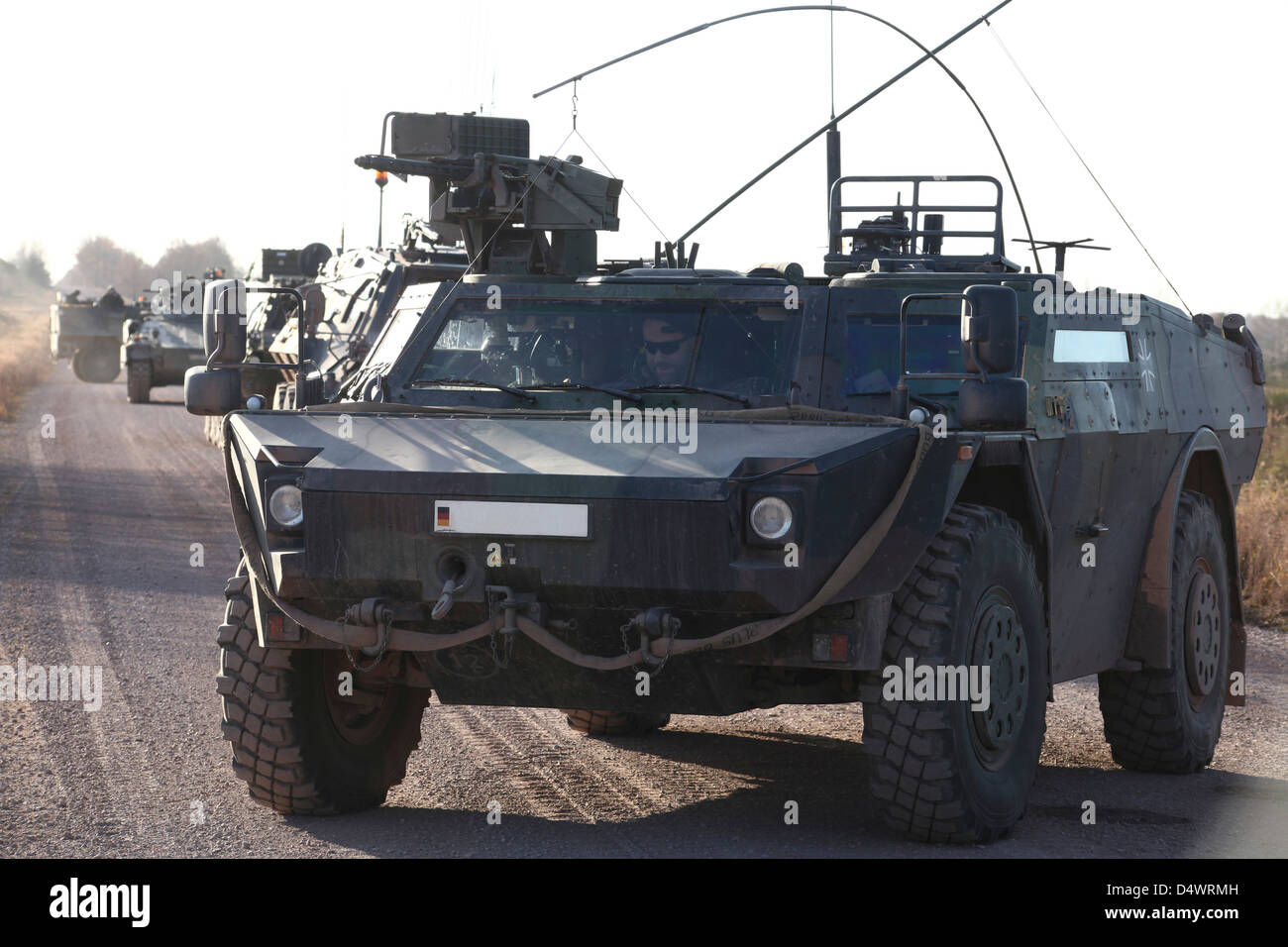 Fennek armored reconnaissancd vehicles of the German Army. - Stock Image