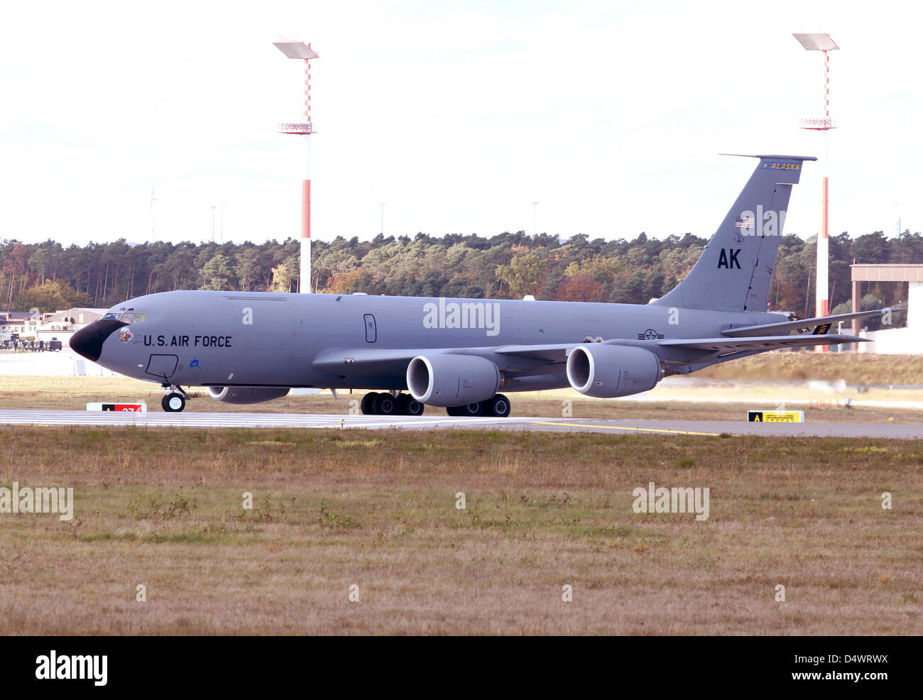 A KC-135R Stratotanker of the Alaska National Guard's 168th ARS taxiing at Ramstein Air Base, Germany. - Stock Image