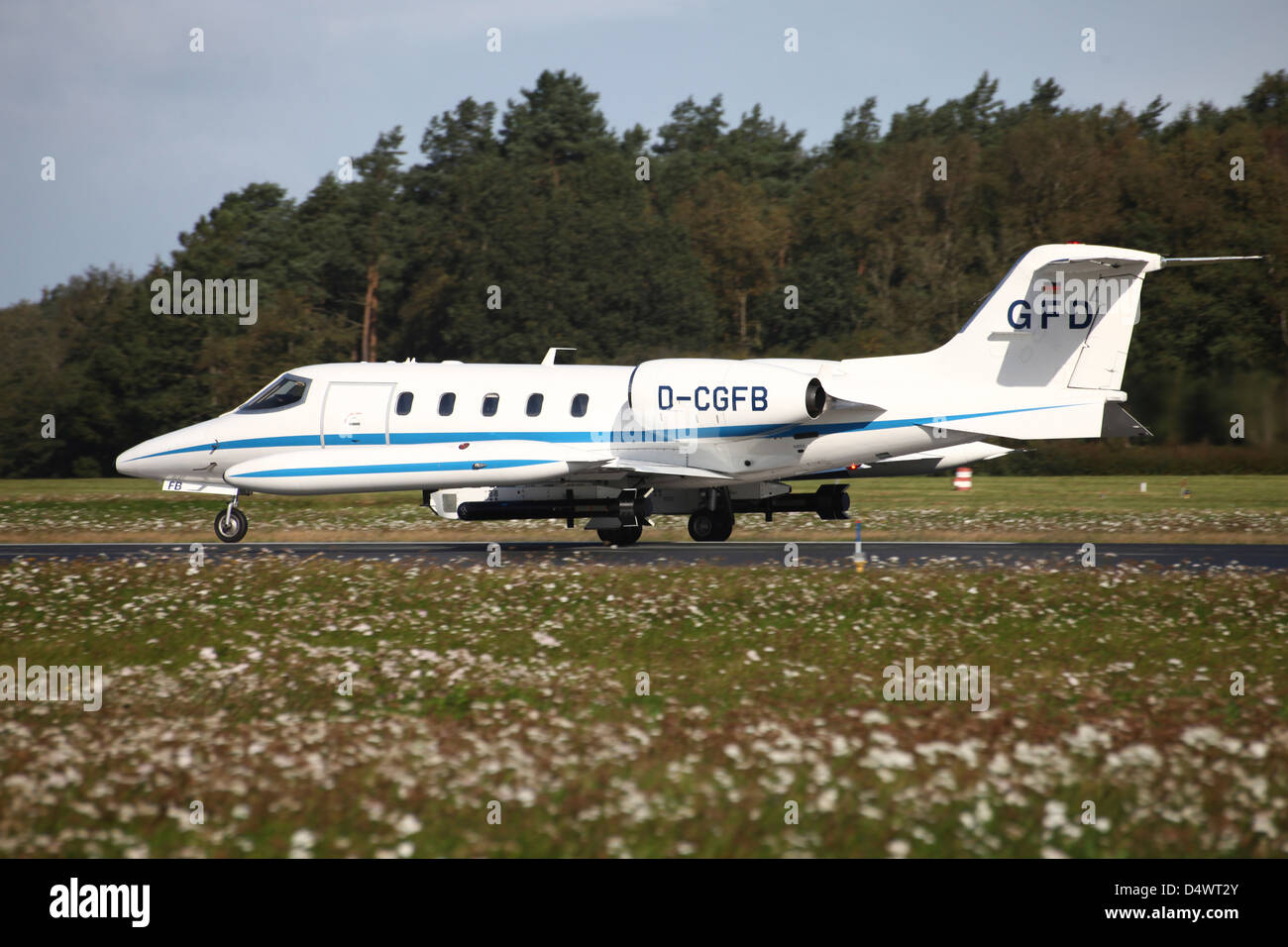 A Learjet of GFD with electronic countermeasure pods contracted by the German Forces for electronic warfare training. - Stock Image