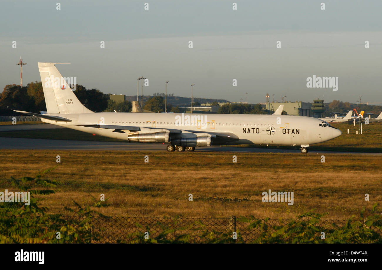 NATO's Boeing 707 TCA trainer aircraft taxiing at Geilenkirchen Airfield, Germany. - Stock Image