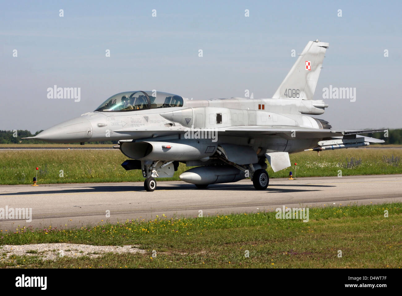 Polish F-16D Block 52 during exercise ELITE, Lechfeld Airfield, Germany. - Stock Image