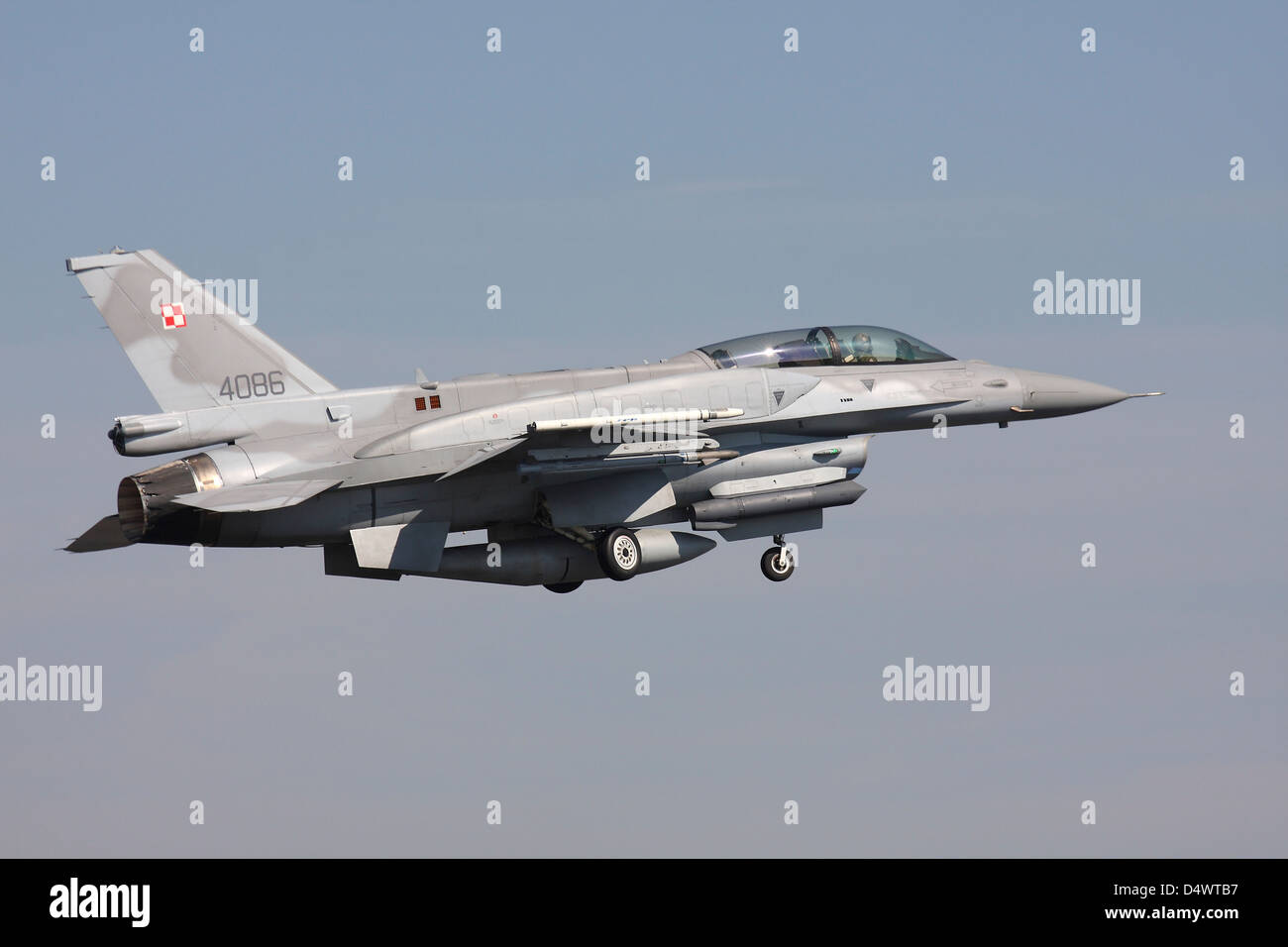 A Polish F-16D Block 52 taking off from Lechfeld Airbase, Germany, during exercise ELITE. - Stock Image