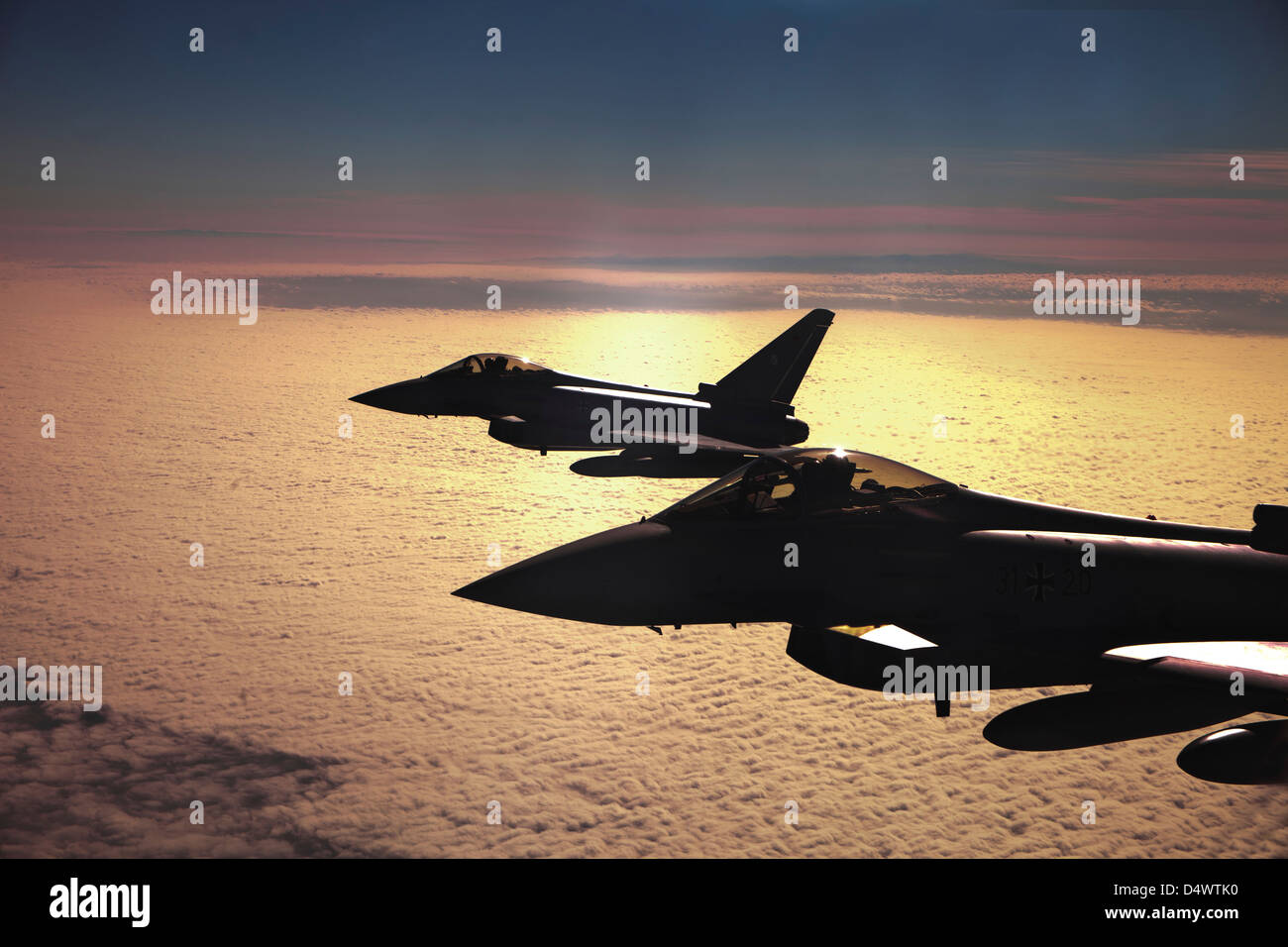 Two German Air Force Eurofighter Typhoon's over France during Exercise Volcanex. Stock Photo