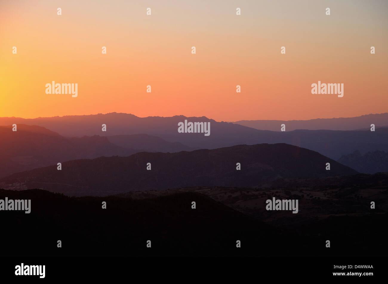 Sardegna Italy Sunset monte albo by andrea quercioli - Stock Image