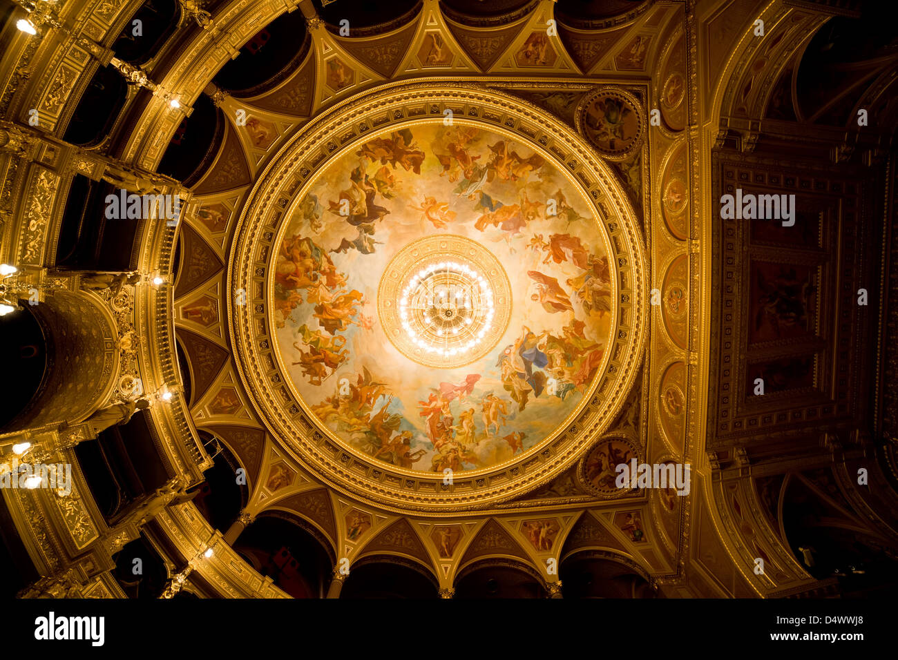 Budapest Opera House interior ceiling with frescos by Karoly Lotz depicting Olympus and the Greek gods, Budapest, - Stock Image