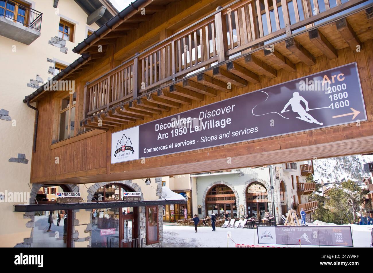 Village of Arc 1950, ski resort in winter - The Alps, France - Stock Image