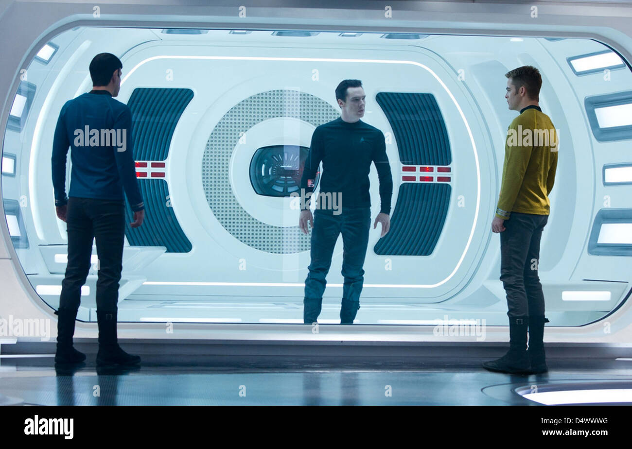STAR TREK INTO DARKNESS  2013 Paramount Pictures film with from l: Zachary Quinto, Benedict Cumberbatch and Chris - Stock Image