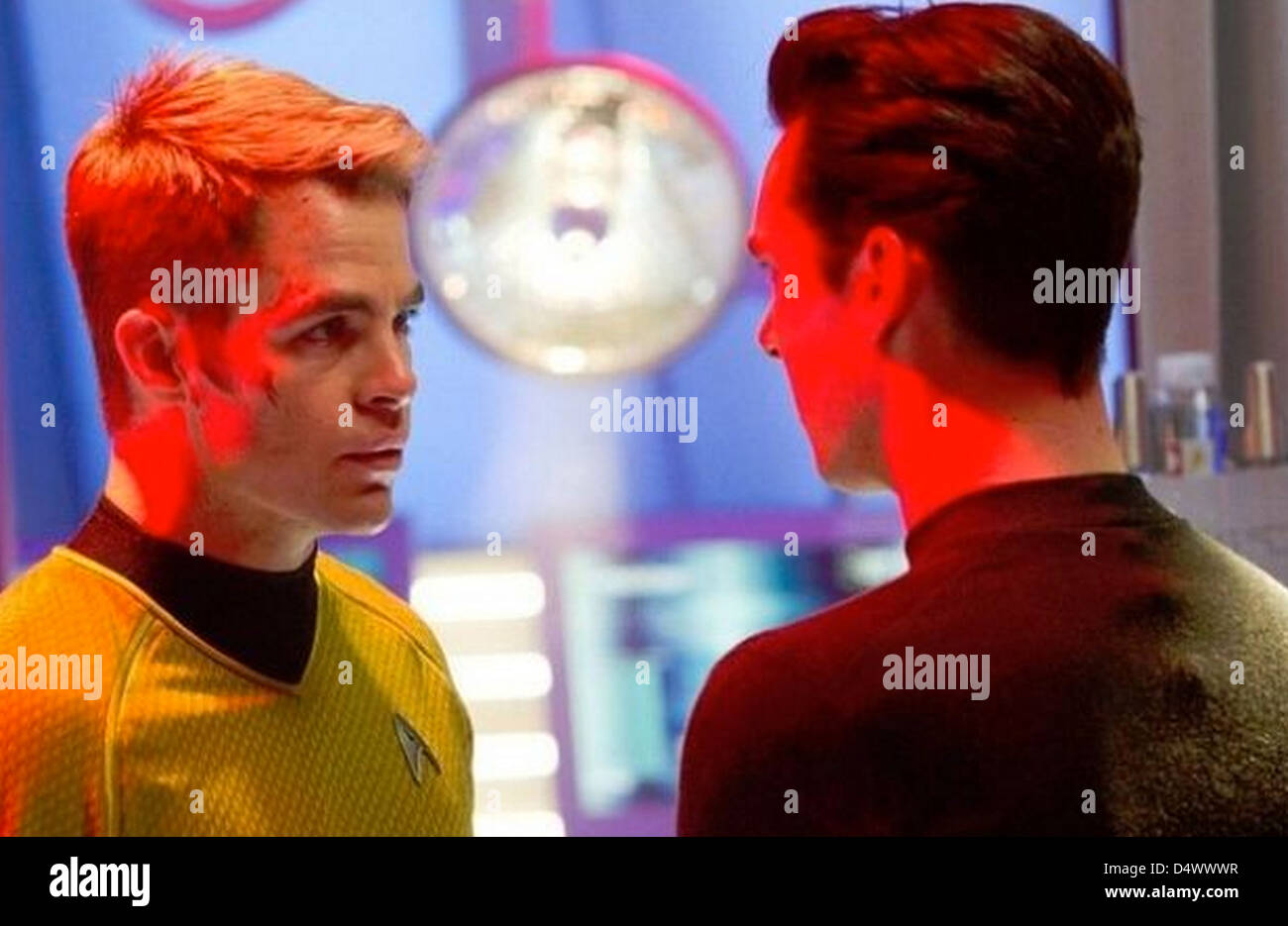 STAR TREK INTO DARKNESS  2013 Paramount Pictures film with Chris Pine at left and Benedict Cumberbatch - Stock Image