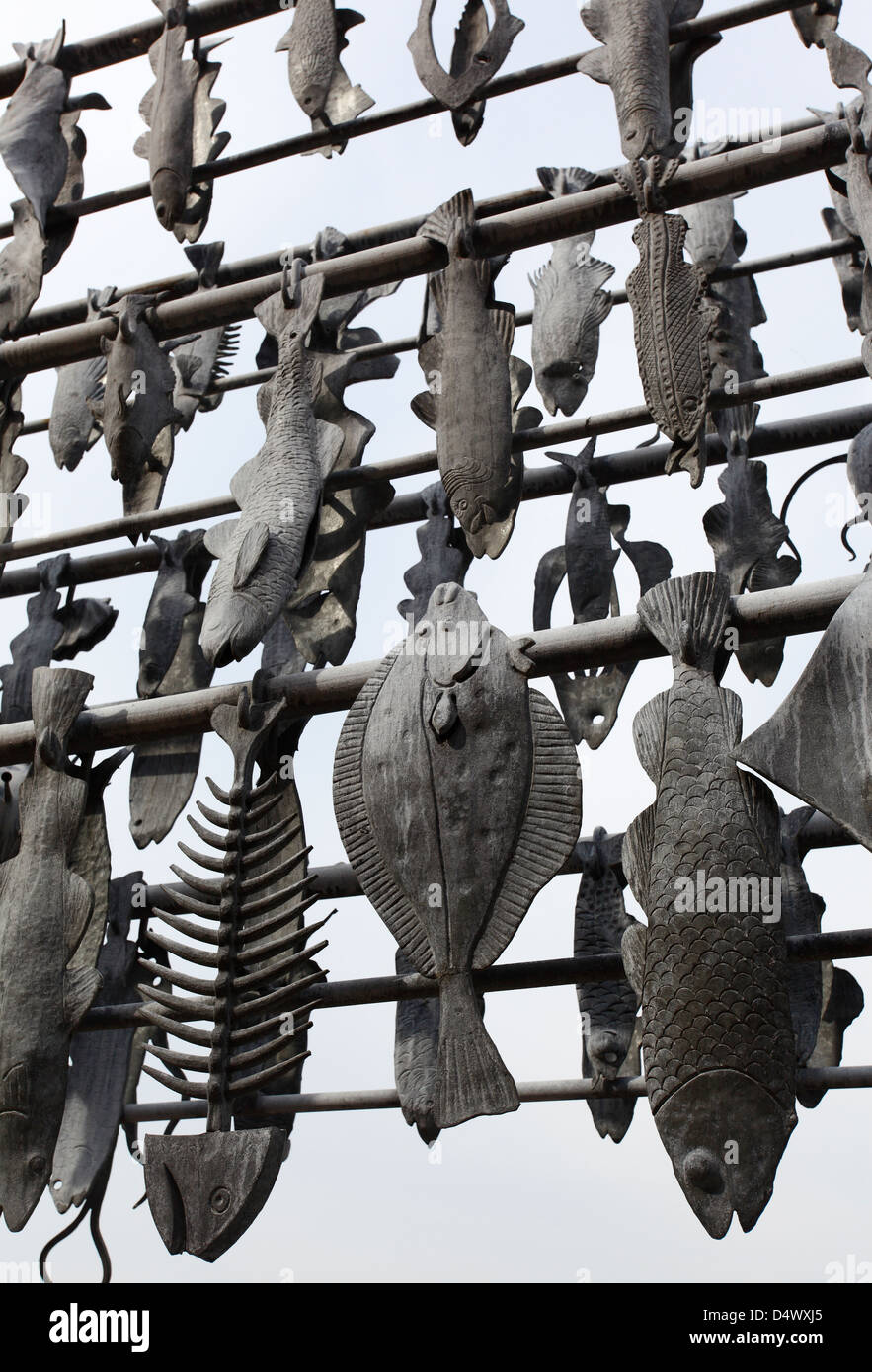 A steel sculpture of fish racks at South Quay in King's Lynn, Norfolk. - Stock Image