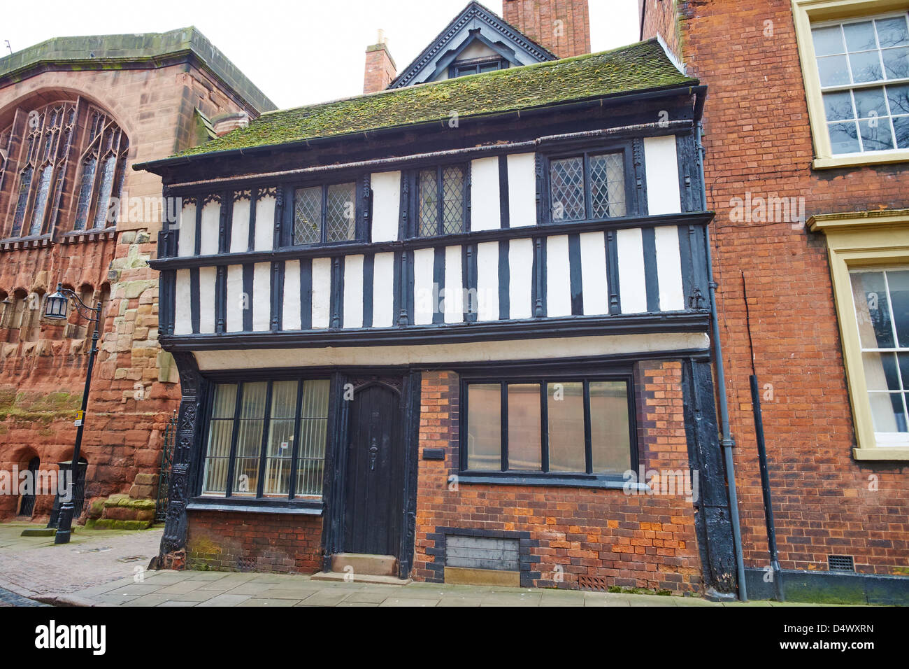Medieval Timber Framed Cottage Bayley Lane Coventry West Midlands UK - Stock Image