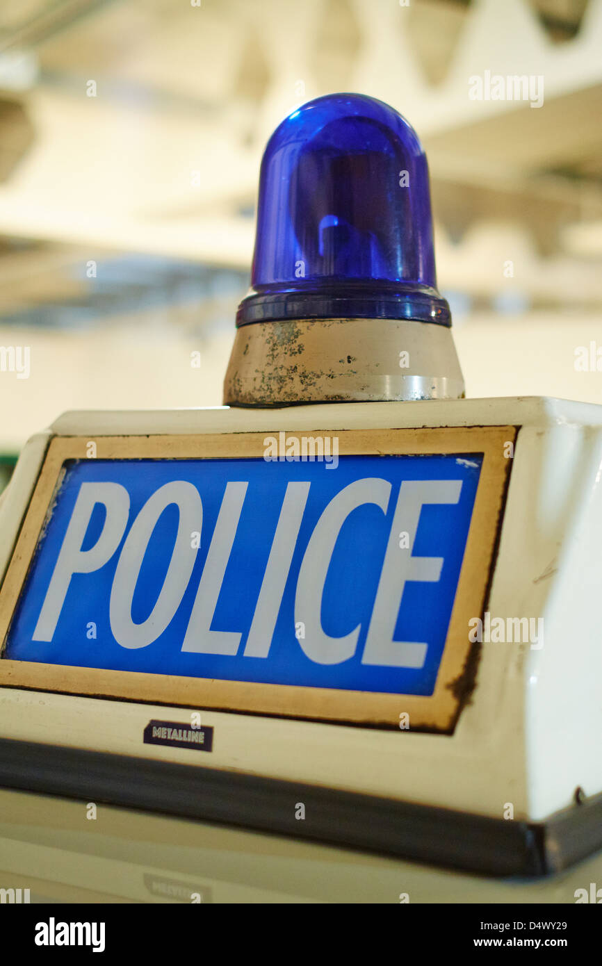 Police Blue Light on the roof of a car Transport Museum Coventry UK - Stock Image