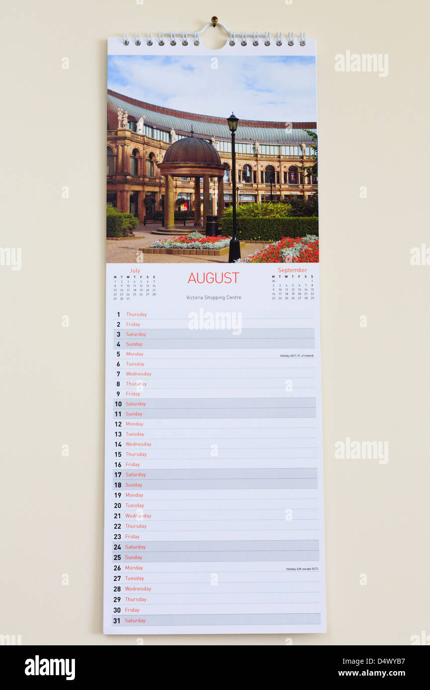 blank pictorial calendar with photograph of harrogate showing days