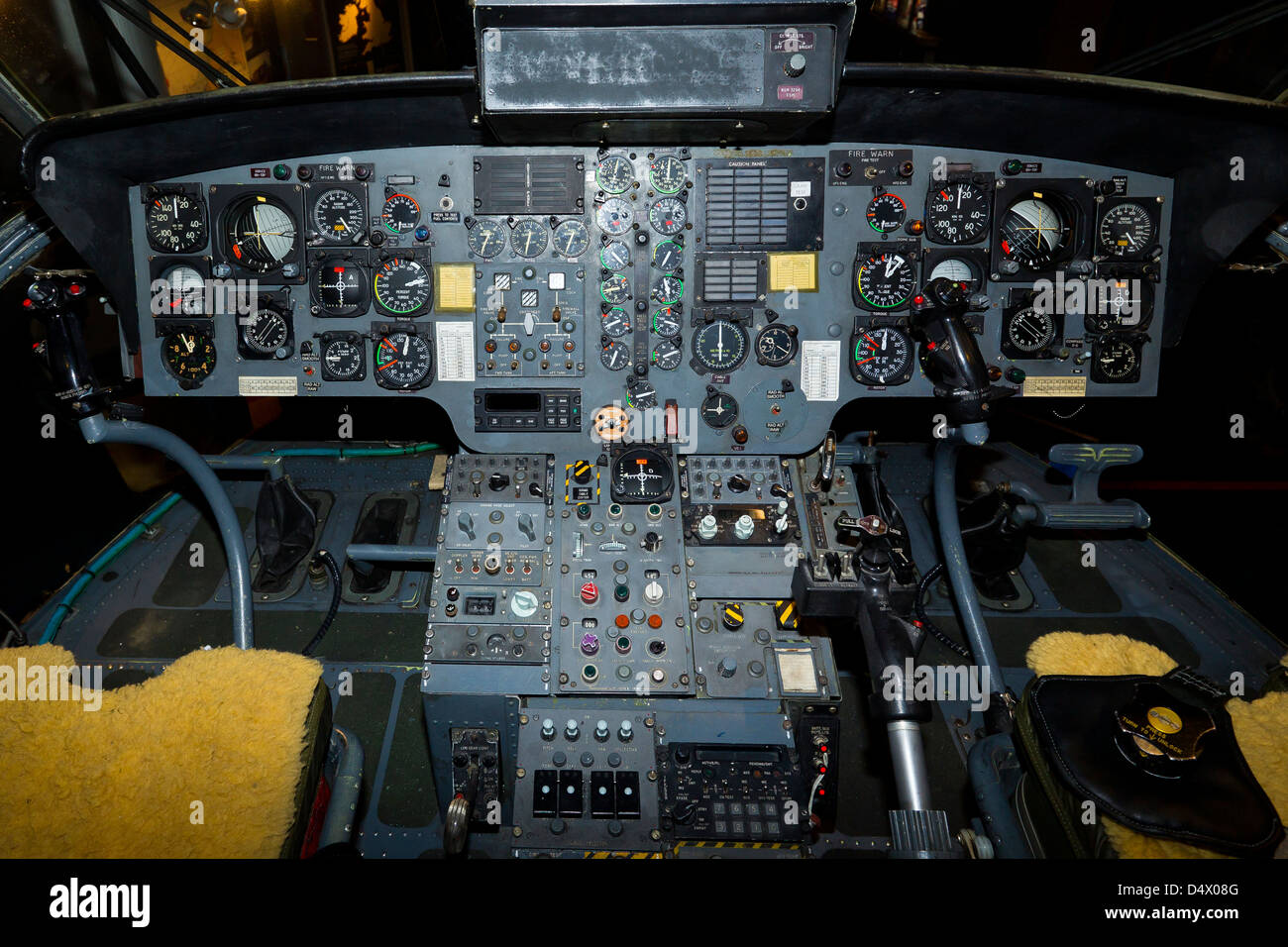 Westland Sea King XV663 Helicopter Cockpit And Controls - Stock Image