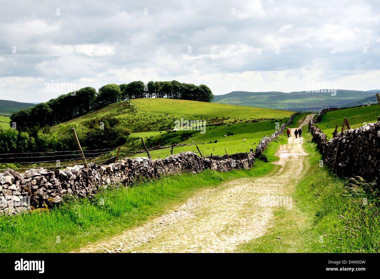 A footpath leading down to Horton in Ribblesdale in the Yorkshire Dales National Park, England - Stock Image