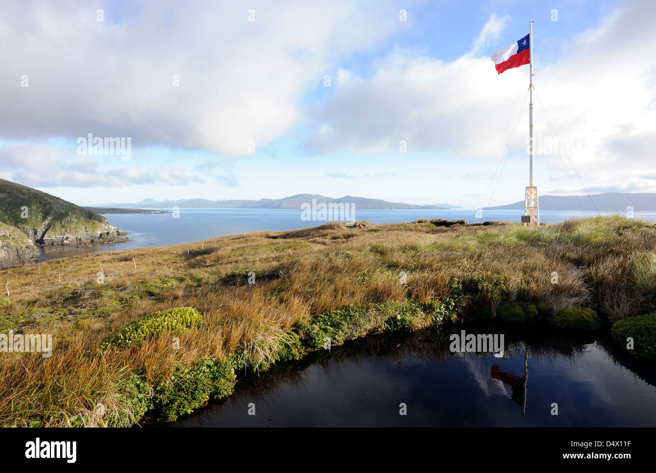 The national flag of Chile, La Estrella Solitaria, (The Lone Star) flies over the Cape Horn National Park. Cabo - Stock Image