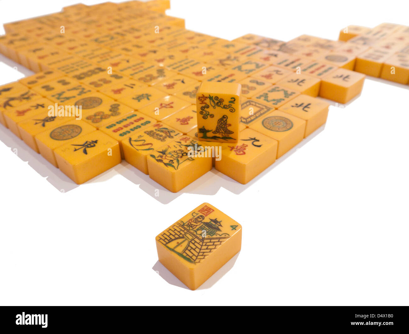 An approximate 3D representation map of China made of Mah Jong tiles viewed from the Taiwanese perspective - Stock Image
