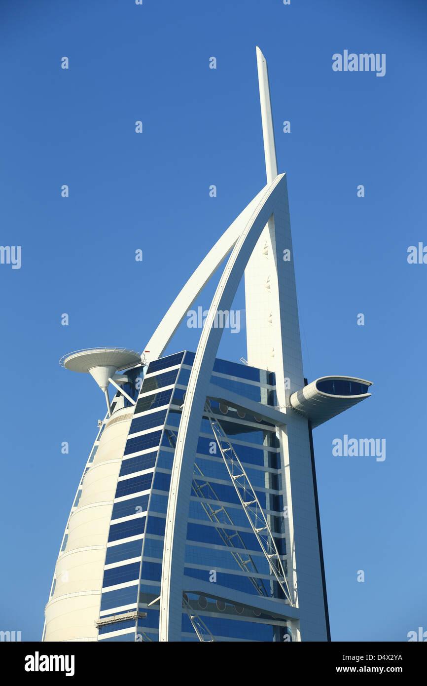 Closeup shot of Bruj Al Arab, Dubai, United Arab Emirates - Stock Image