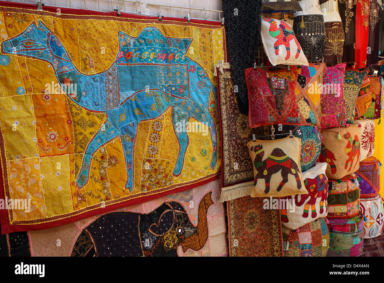 Colorful textiles on display at market in Dubai, United Arab Emirates - Stock Image