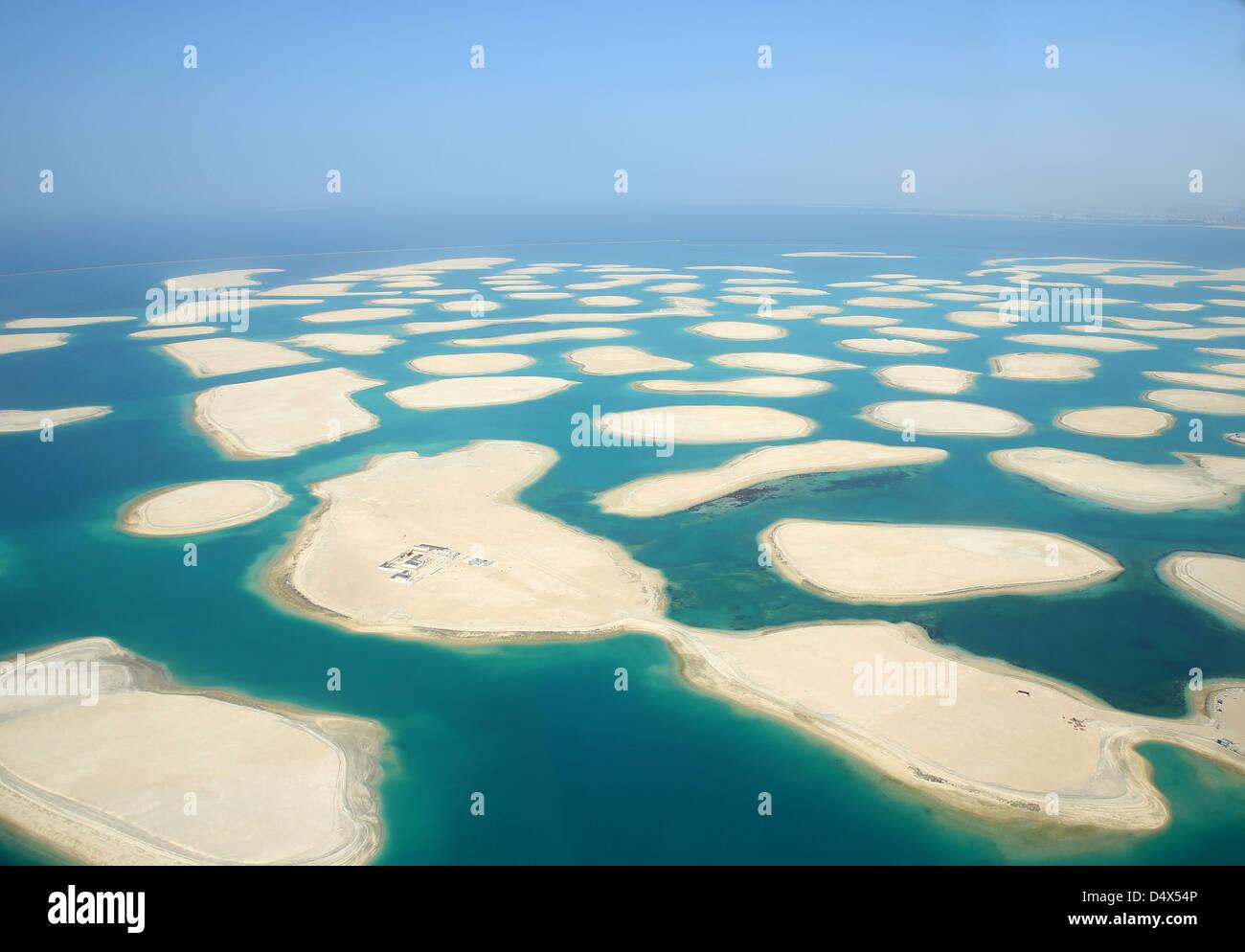 Aerial view of the world islands, Dubai, United Arab Emirates - Stock Image
