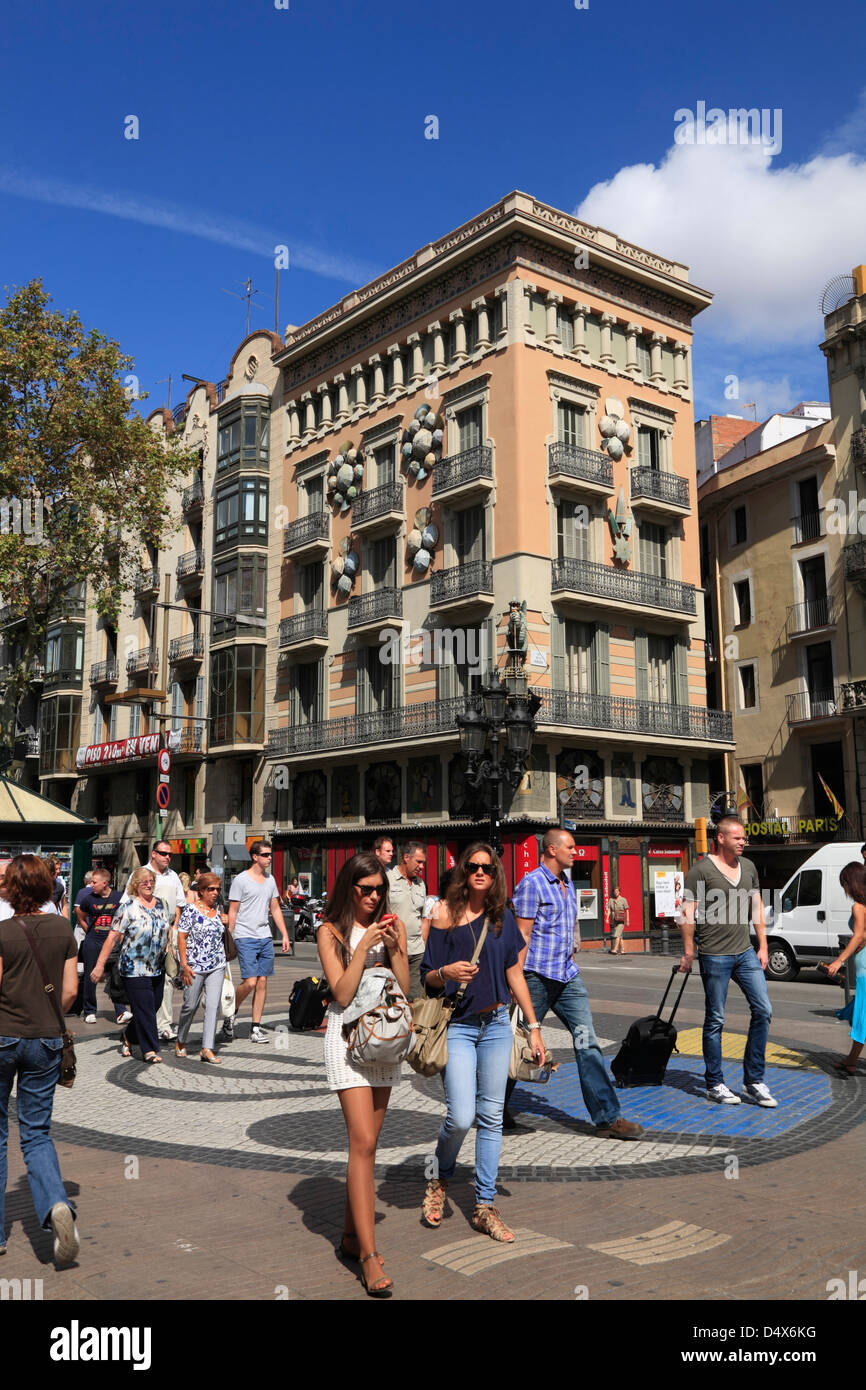 Tourists at  Ramblas, Barcelona, Spain - Stock Image