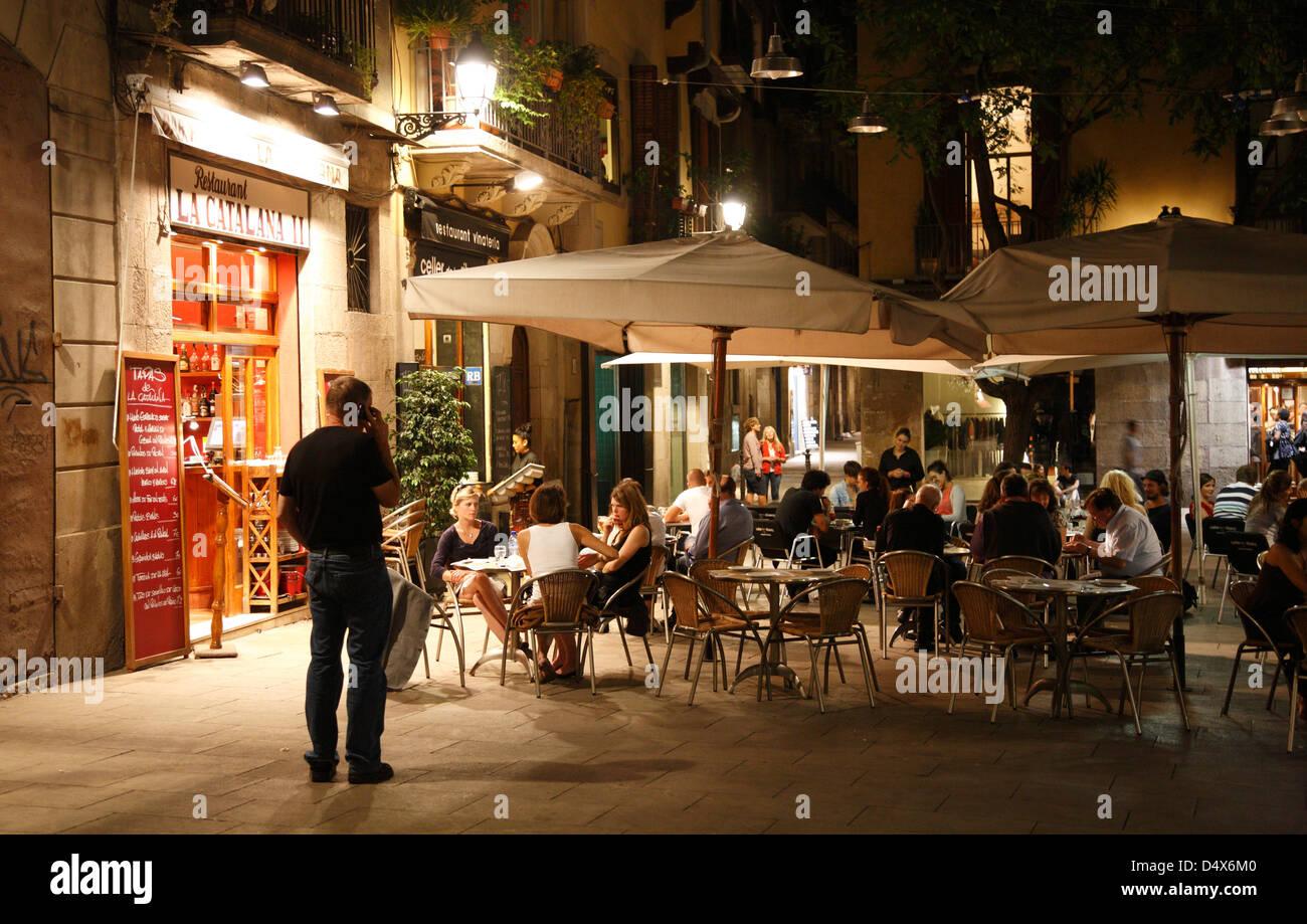 Restaurant in Ribera Quarter, Barcelona, Spain - Stock Image