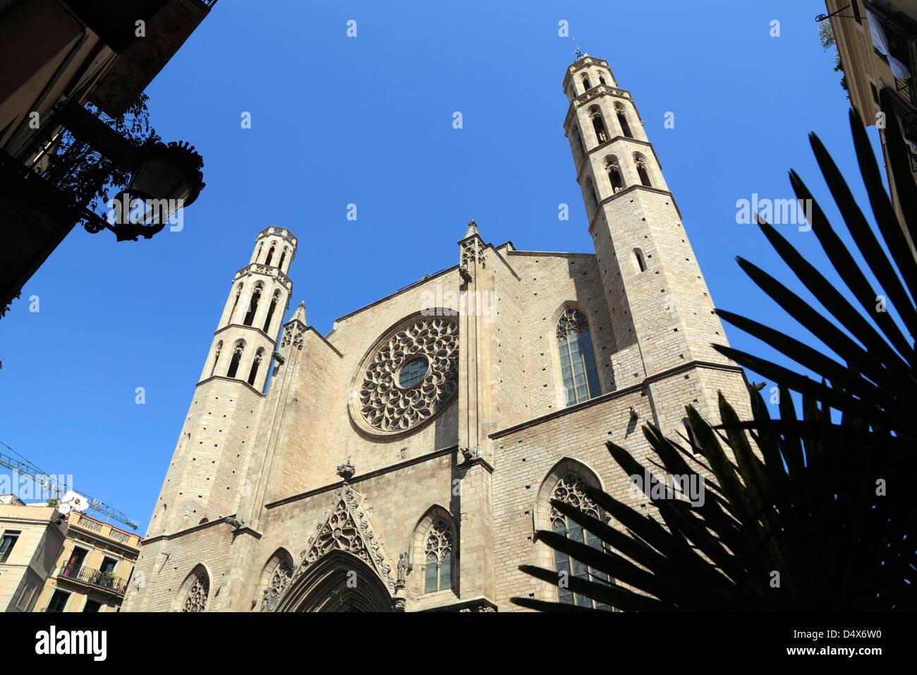 Ribera Quarter, Church Santa Maria del Mar, Barcelona, Spain - Stock Image