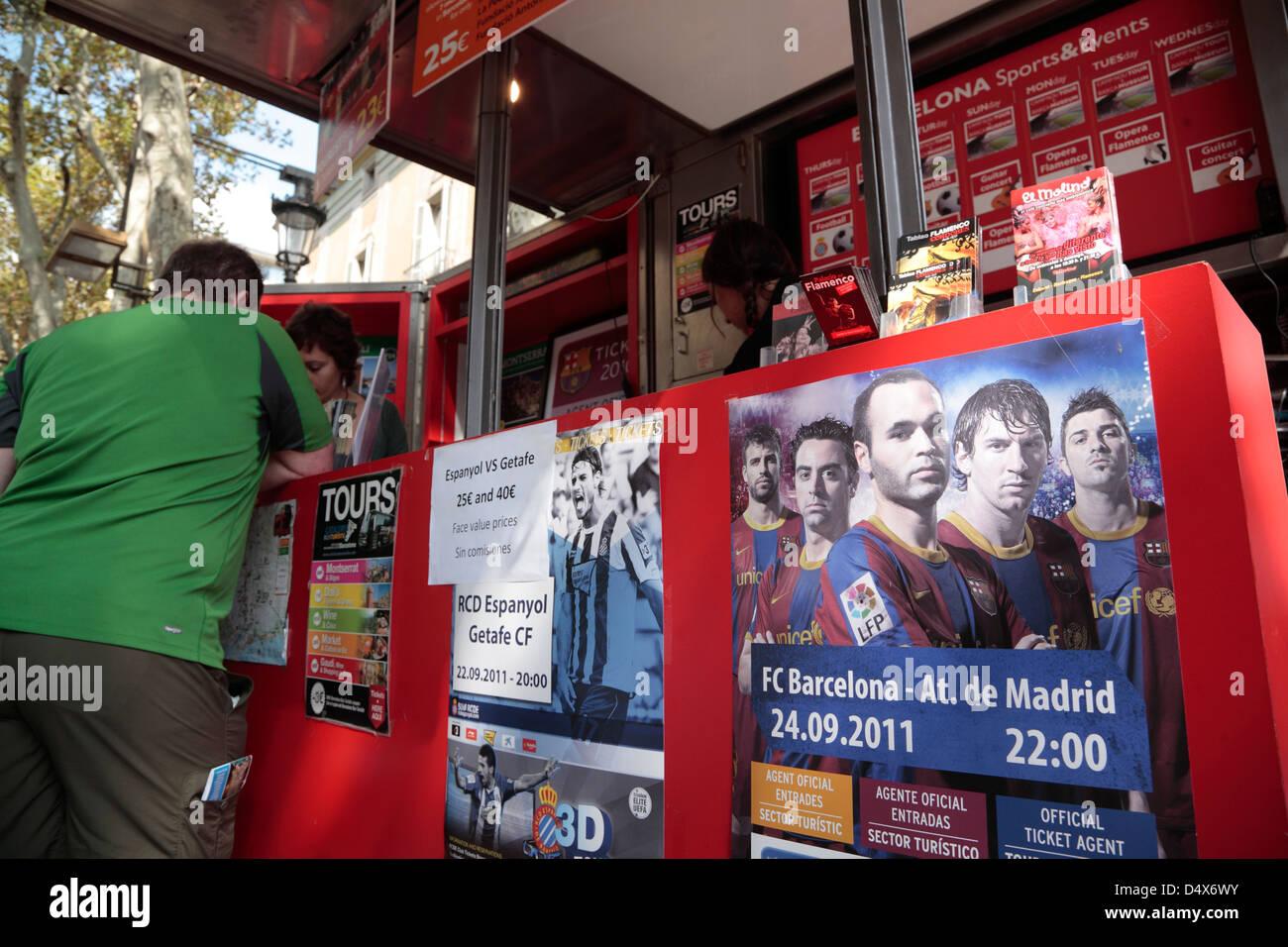 Selling Football-Tickets at Ramblas, Barcelona, Spain - Stock Image