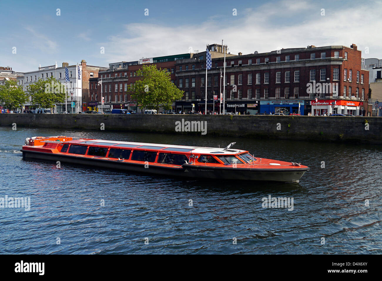 Spirit of Docklands tour boat on River Liffey in Dublin Stock Photo