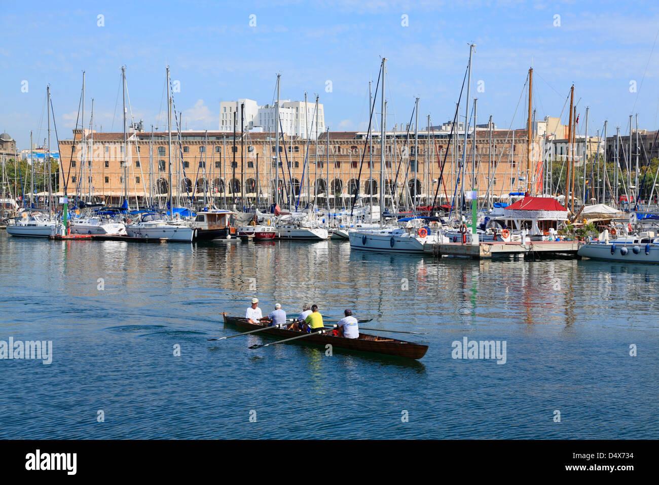Boats in Port Vell harbor, Barcelona, Spain - Stock Image