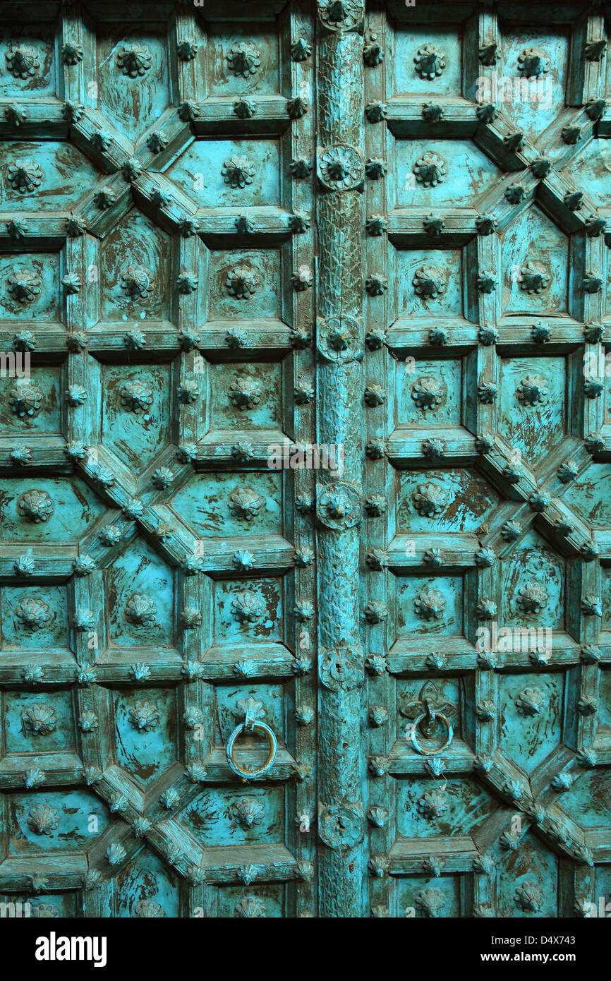 Detail of old door at market, Dubai, United Arab Emirates - Stock Image